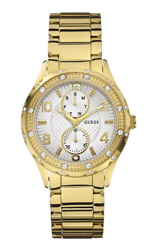 GUESS Damenuhr Siren Multifunktion gold mit Kristallen