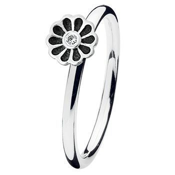 Spinning - PRIMO 15008 - Ring Mini blossom black Silber
