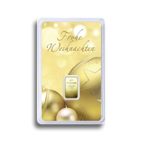 "Investment - G10004 - 1g Goldbarren ""Frohe Weihnachten"""